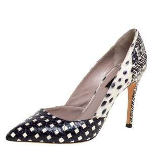 حذاء كعب عالي مارك جاكوبس مقدمة مدببة جلد مطبوع نقشة الثعبان أسود و أبيض مقاس 39