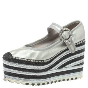 Marc Jacobs Metallic Silver Leather Crystal Embellished Suzi Mary Jane Platforms Espadrilles Size 36