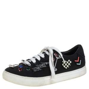 حذاء رياضي مارك جاكوبس منخفض من أعلى مزين رقعات و زخارف كانفاس أسود مقاس 39