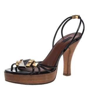 Marc Jacobs Black Patent Leather Studded Ankle Strap Platform Slingback Sandals Size 38.5