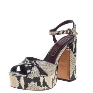 Marc Jacobs Debbie Grey/Black Python Embossed Leather Platform Sandal Size 38
