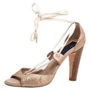 حذاء كعب عالي مارك جاكوبس جلد برونزي ميتاليك بربطة كاحل مقاس 40