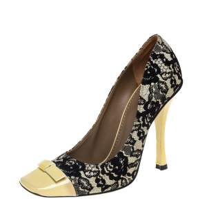 حذاء كعب عالي مارك جاكوبس تفاصيل فيونكة بروغي جلد أصفر / أسود مقاس 39