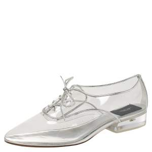 Marc Jacobs Silver PVC and Leather Transparent Clear Heel Oxfords Size 41