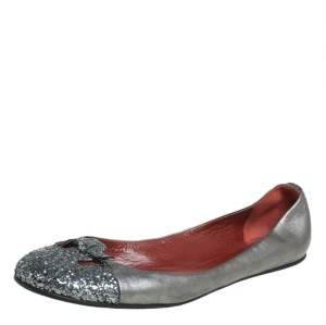 Marc Jacobs Metallic Silver Glitter And Leather Ballet Flats Size 38