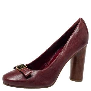 Marc By Marc Jacobs Burgundy Leather Bow  Wooden Heel Pumps Sze 38