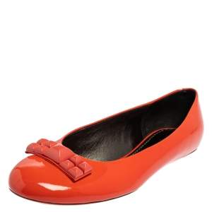Marc Jacobs Orange Patent Leather Embellished Bow Ballet Flats Size 37.5