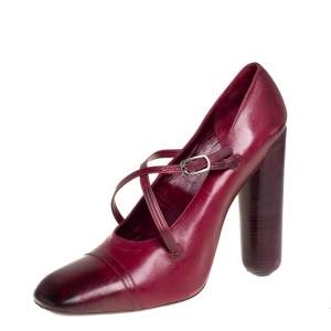 Marc Jacobs Burgundy Leather Mary Jane Pumps Size 38.5