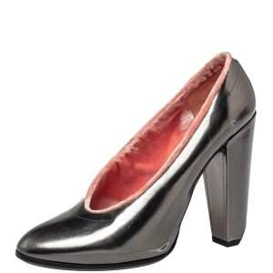 Marc Jacobs Grey Leather Block Heel Pumps Size 38.5