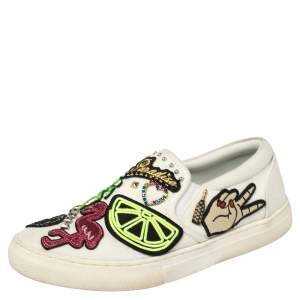 Marc Jacobs Off White Canvas Embellishment Low Top Sneakers Size 36