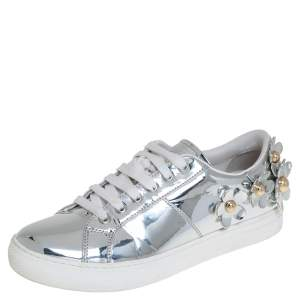 Marc Jacobs Silver Patent Leather Daisy Low Top Sneakers Size 41
