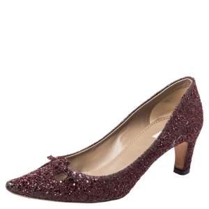 Marc Jacobs Burgundy Glitter Slip on Pumps Size 37
