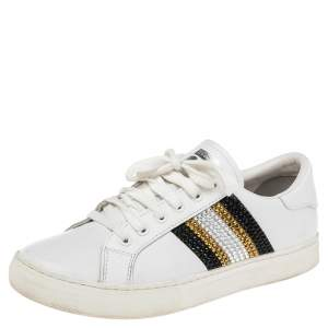 Marc Jacobs White Leather Crystal Embellished Lace Up Sneakers Size 39