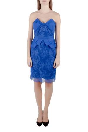 Marchesa Notte Cobalt Blue Lace and Organza Strapless Peplum Cocktail Dress S
