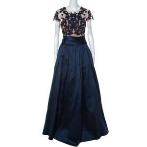 Marchesa Notte Midnight Blue Floral Embroidered Tulle Mikado Cap Sleeve Gown M