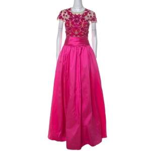 Marchesa Notte Pink Floral Embroidered Tulle Mikado Cap Sleeve Gown S