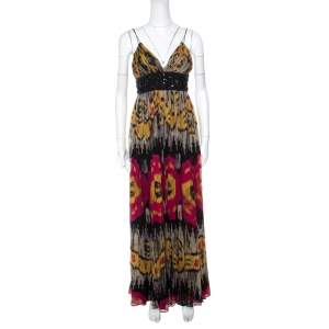 Marchesa Notte Multicolor Ikkat Printed Silk Embellished Sleeveless Maxi Gown S
