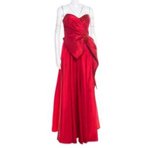 Marchesa Notte Red Embellished Trim Bow detail Strapless Gown M