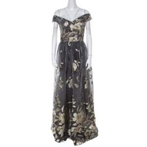 Marchesa Notte Grey Metallic Floral Fil Coupe Layered Off Shoulder Gown L