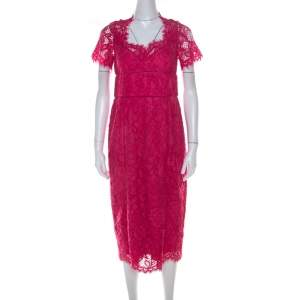 Marchesa Notte Pink Lace Sheath Dress M