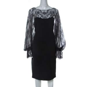 Marchesa Notte Black Silk Sheer Lace Yoke Detail Shift Dress L