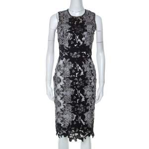 Marchesa Notte Monochrome Floral Lace Sleeveless Pencil Dress S