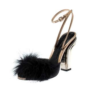 Marco De Vincenzo Black Feathers Embellished Ankle Strap Sandals Size 36
