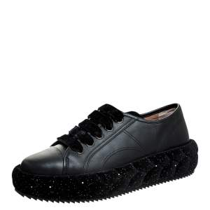 Marco De Vincenzo Black Leather And Velvet Platform Lace Up Low Top Sneakers 41