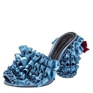 Marco de Vincenzo Blue Satin Ruffles Mules Size 36