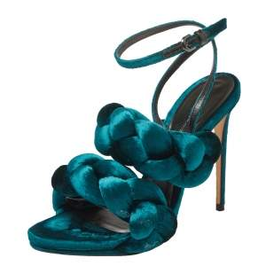 Marco de Vincenzo Teal Green Velvet Braided Ankle Strap Sandals Size 40