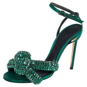 Marco de vincenzo Green Crystal Embellished Satin Knotted Ankle Strap Sandals Size 38.5