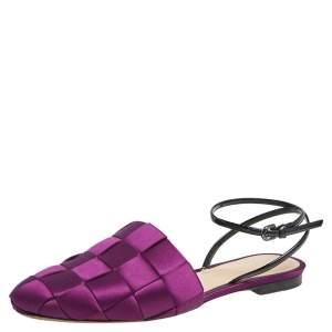 Marco de Vincenzo Purple Woven Satin Ankle Strap Flats Size 39