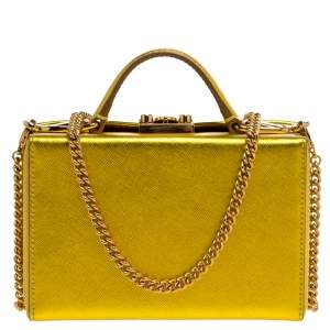 Mark Cross Golden Yellow Leather Mini Grace Box Bag