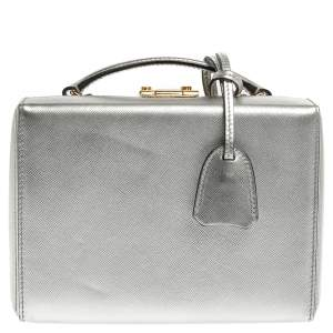 Mark Cross Silver Leather Small Grace Box Bag