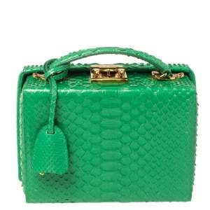 Mark Cross Green Python Small Grace Box Bag