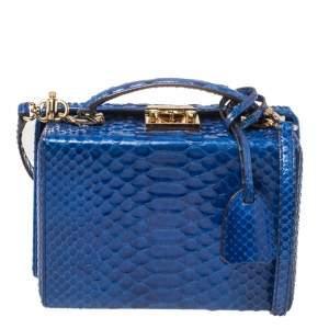 Mark Cross Blue Python Small Grace Box Bag