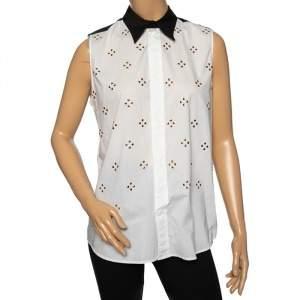 Marni White Embellished Poplin Contrast Collar & Yoke Detailed Sleeveless Shirt M