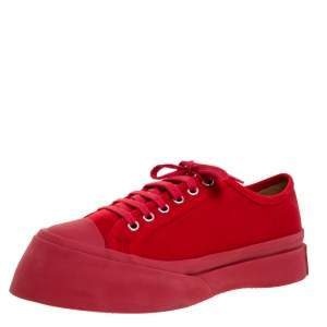 Marni Red Canvas Round Toe Low Top Sneakers Size 38