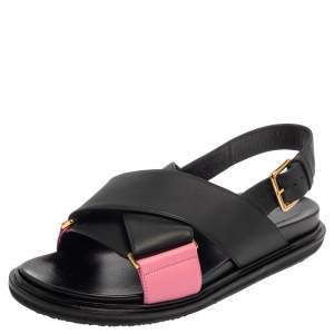 Marni Black/Pink Leather Cross-Strap Sandals Size 39.5