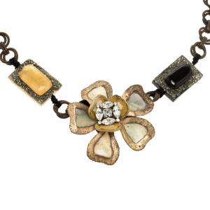Marni Flower Crystal Resin Metal Embellished Statement Tie-up Necklace