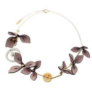 Marni Pink Leather Flower Two Tone Metal Statement Necklace