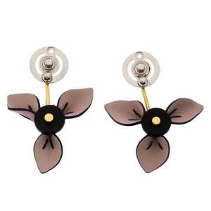 Marni Floral Leather Two Tone Metal Dangle Earrings