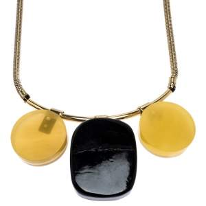 Marni Multicolor Horn and Resin Pendant Gold Tone Choker Necklace