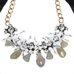 Marni Crystal Bead Embellished Black Ribbon Statement Tie-up Necklace