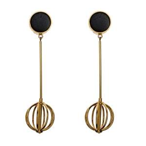 Marni Leather Gold Tone Long Statement Clip-on Earrings