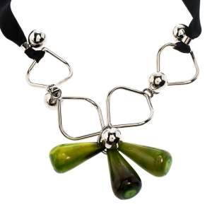 Marni Green Teardrop Beads Silver Tone Black Ribbon Self-Tie Necklace