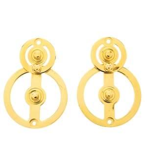 Marni Circular Motif Gold Tone Drop Earrings