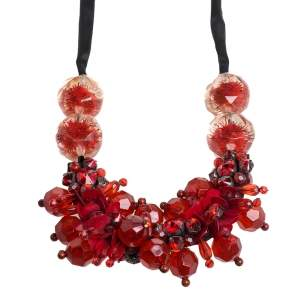 Marni Crimson Red Crystal and Paillette Embellished Ribbon Necklace