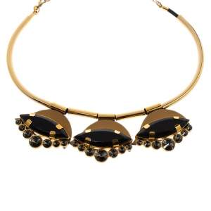 Marni Resin Crystal & Leather Gold Tone Collar Necklace