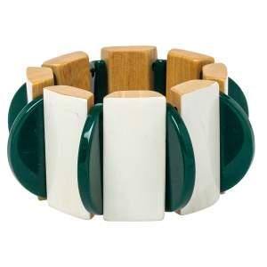 Marni White/Green Resin Wooden Stretch Bracelet